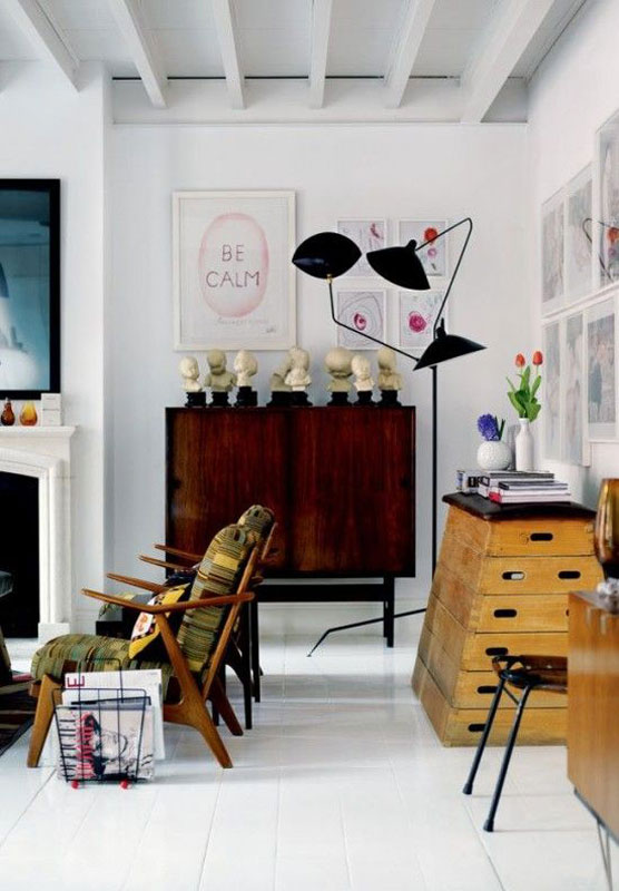 Serge Mouille style task lamp in the home of David Delfin and Gorka Postigo