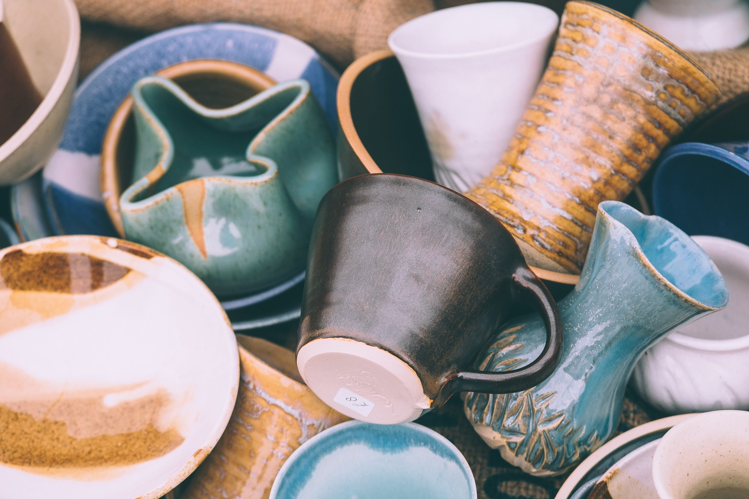 Handmade pottery at the Chattanooga Market, everything from Mugs to Berry Bowls to Vases, the selection is beautiful