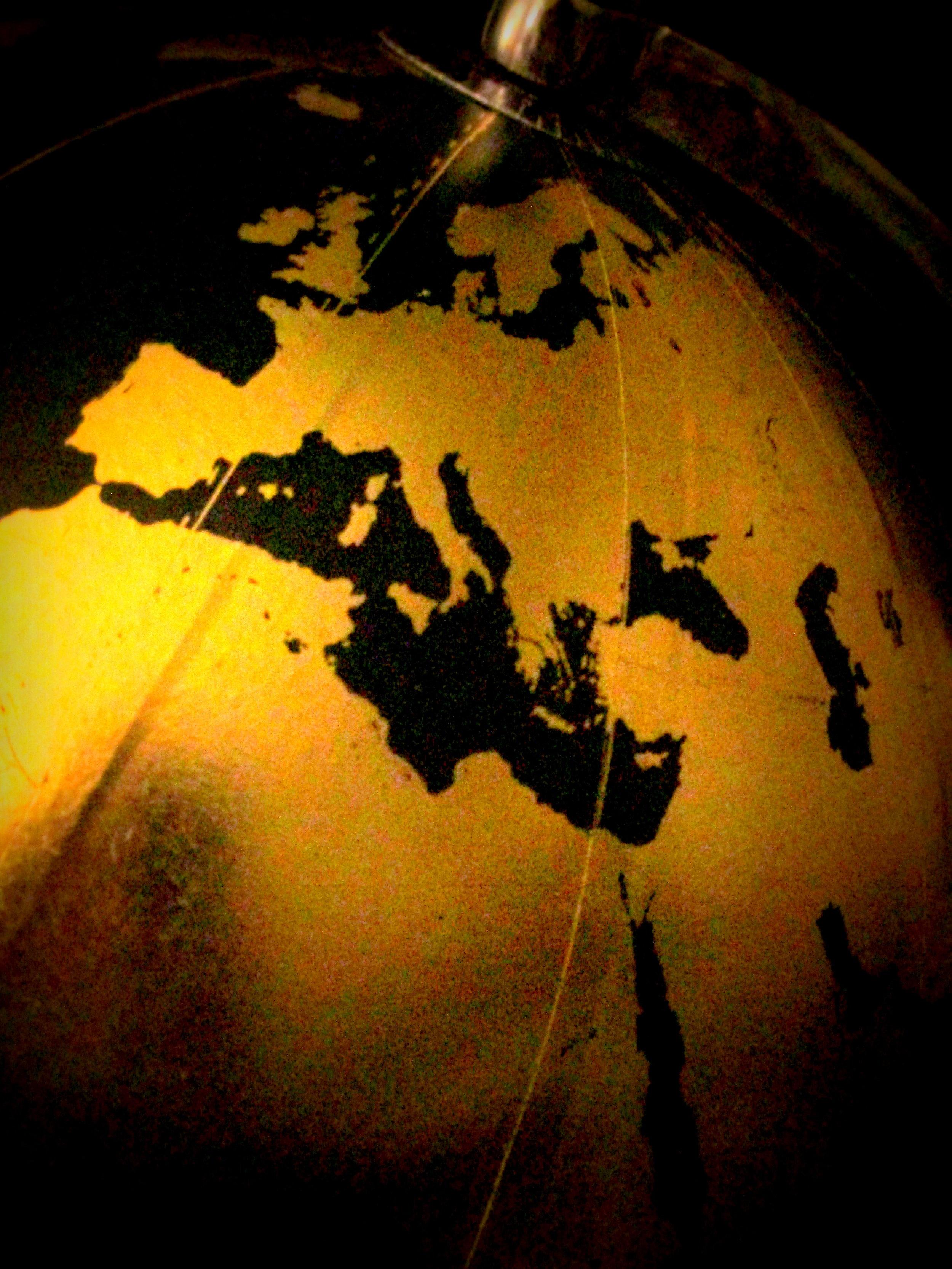 Globe, travel decor, gold and black