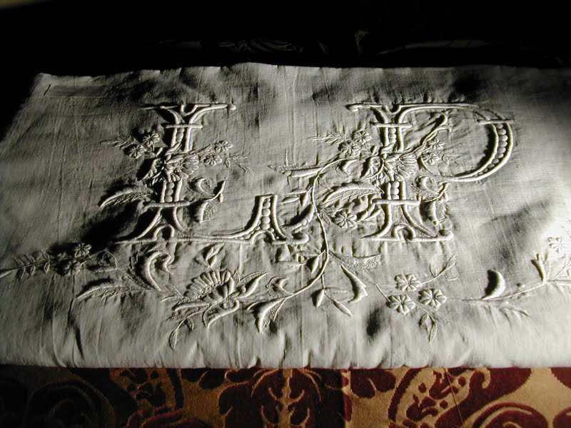 Monogrammed linens, hand embroidered, vintage linens, tradition