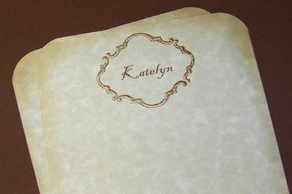 Personalized Thank You Notes with Gold Foil by WritingsbyBlueBirds