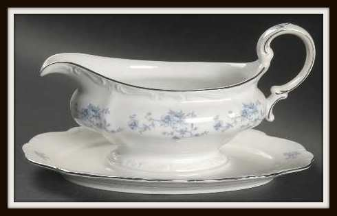 Blue Garland by Haviland Gravy Boat with Under Plate