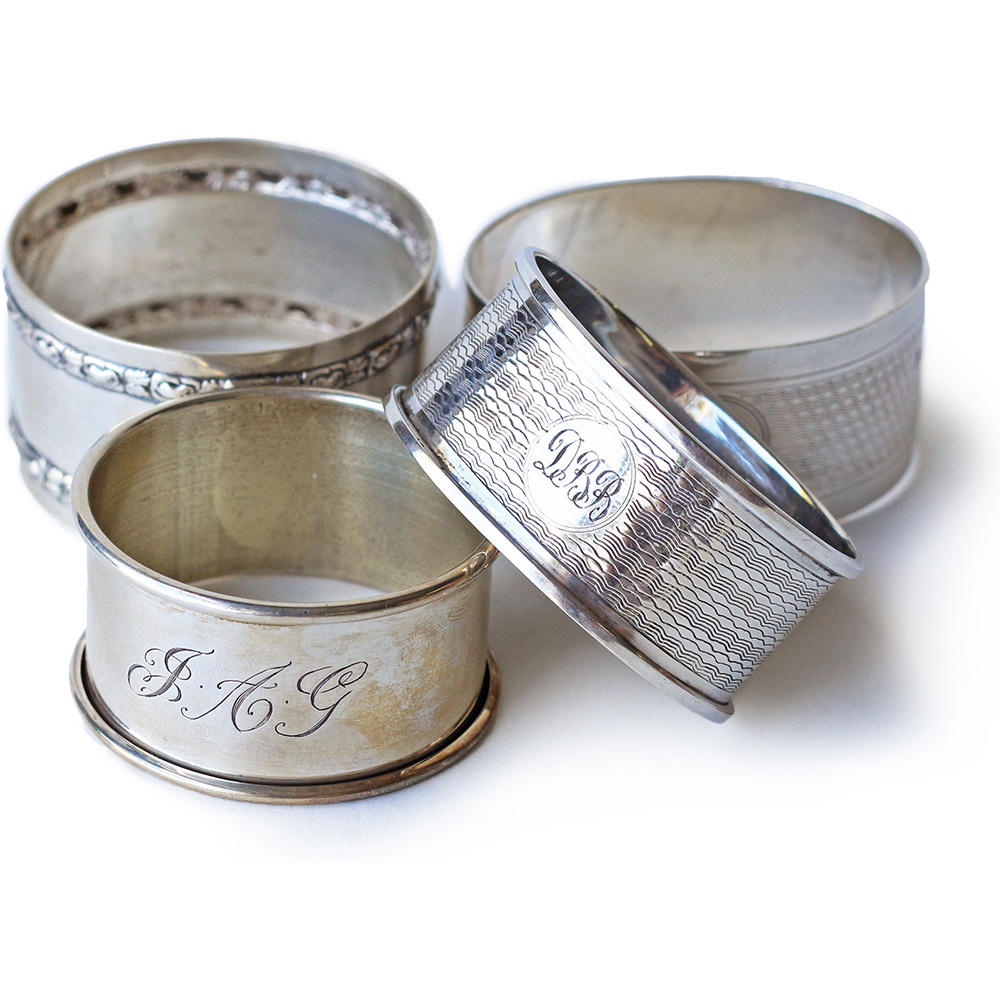 Vintage Sterling Silver Napkin Rings by Garden and Gun