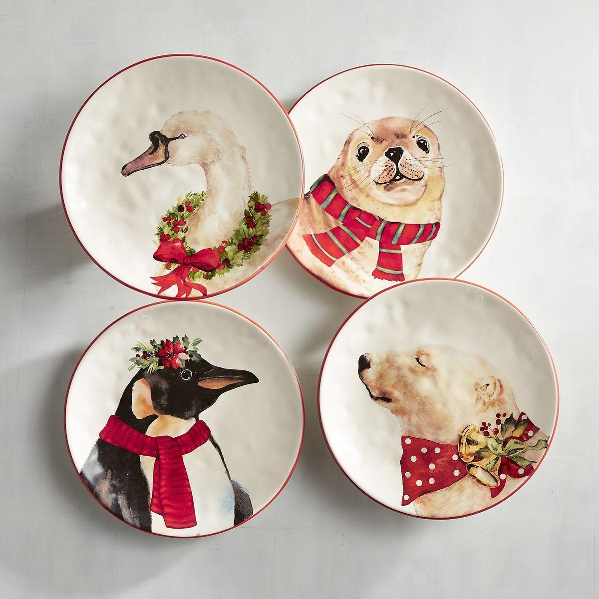 Pier 1 Christmas Animals Salad Plates