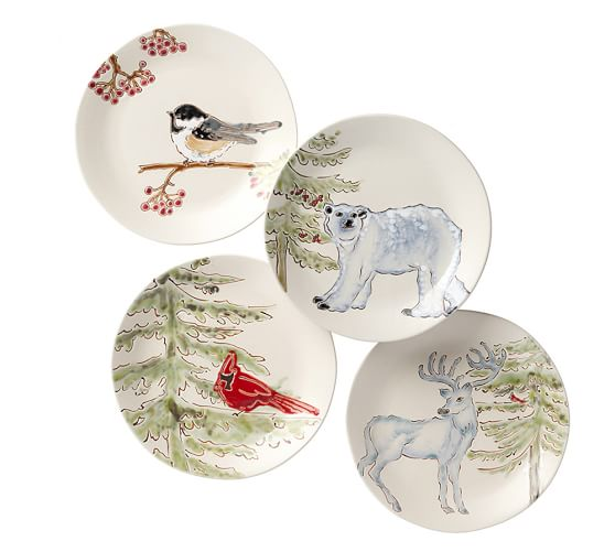 Pottery Barn Artistic Forest Salad Plates