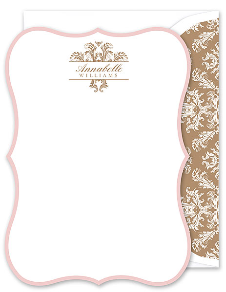 Annabelle Flat Note Cards by 14 and Orange from Fine Stationery