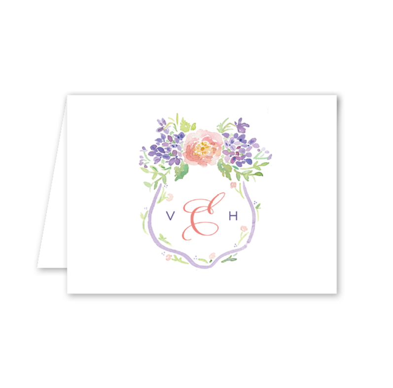 The Dixie Design Collective Peonies and Hydrangeas Large Crest Note Card