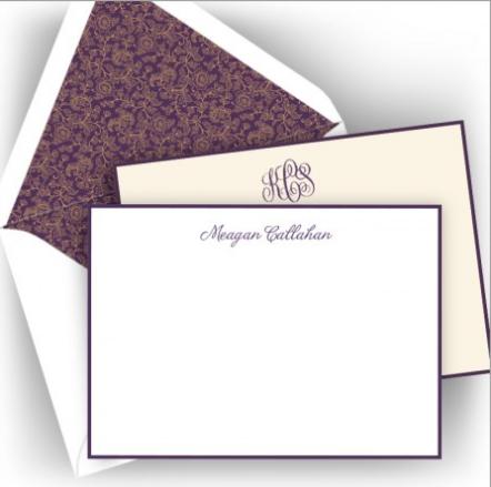 American Stationery Letterpress Plum Note Card