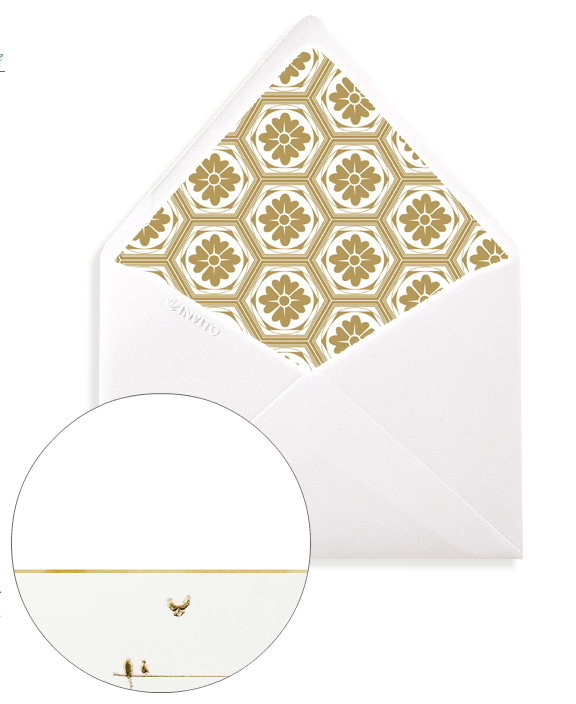 Bell' Invito Birds on a Wire Gold Note Card Envelope with Custom Liner