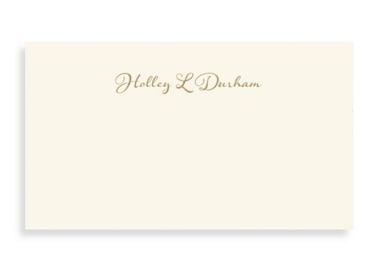 Bell' Invito Crema Personal Calling Card Customized in Gold Foil