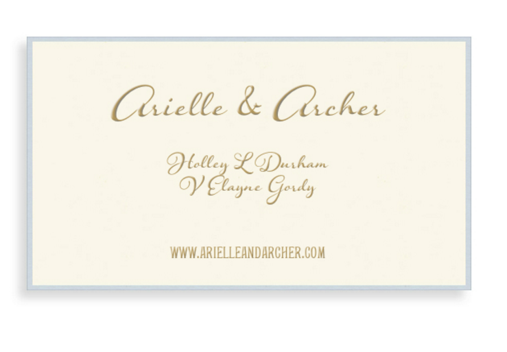 Bell' Invito Crema Business Calling Card Customized in Gold Foil with Azure Edge