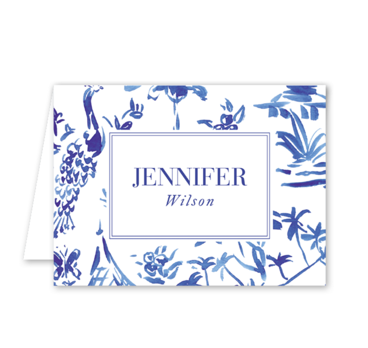 Blue Toile Crest Note Card by Gina Langford at Dixie Design Collective