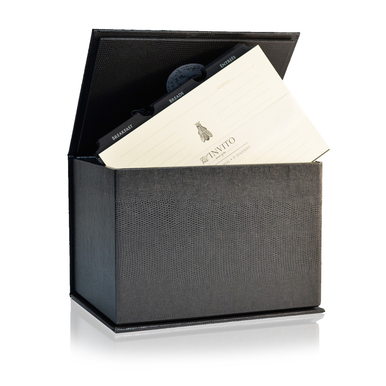 Embossed Recipe Box with Gold Foil Icon Cards from Bell'Invito