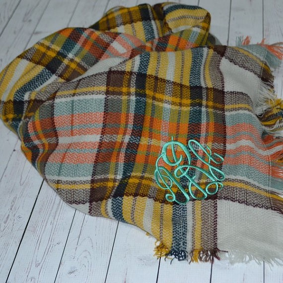 Monogrammed Blanket Scarf from All Southern Boutique