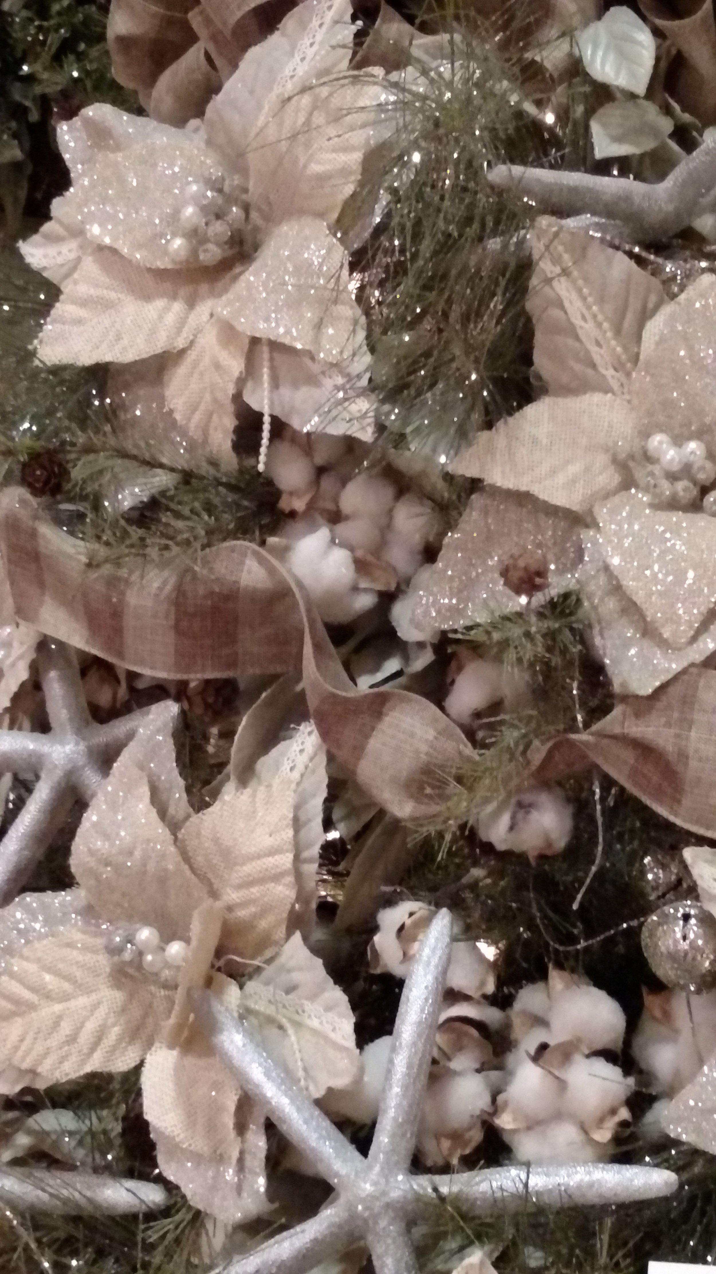 Blush Poinsettias, Plaid Ribbon, Natural Cotton and Starfish Christmas Tree Decor