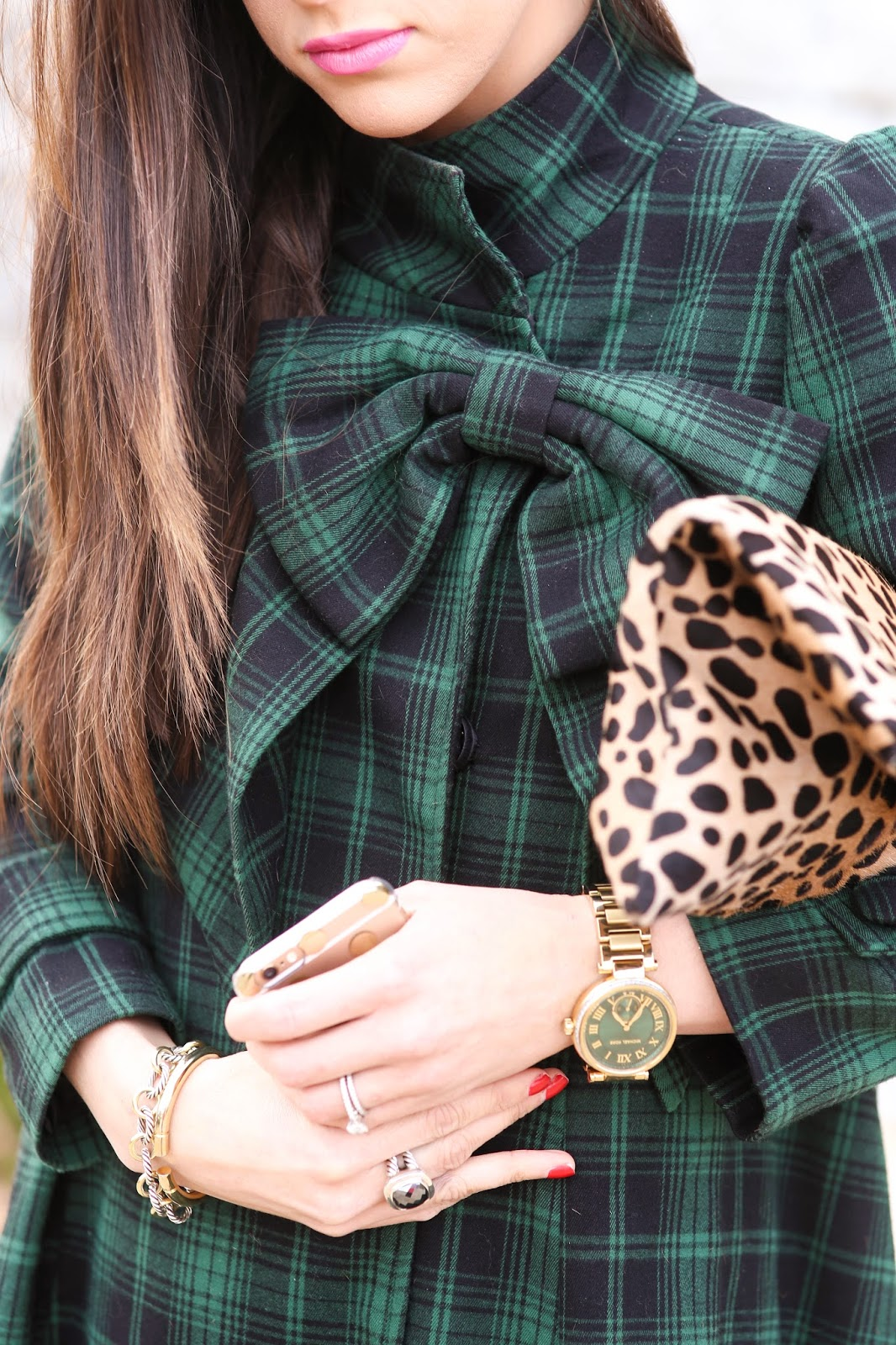 Green Tartan Dolly Dress with Big Bow and Leopard Clutch - Styling by thesweetestthingblog.com