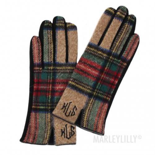Monogrammed Tartan Plaid Gloves by Marley Lilly