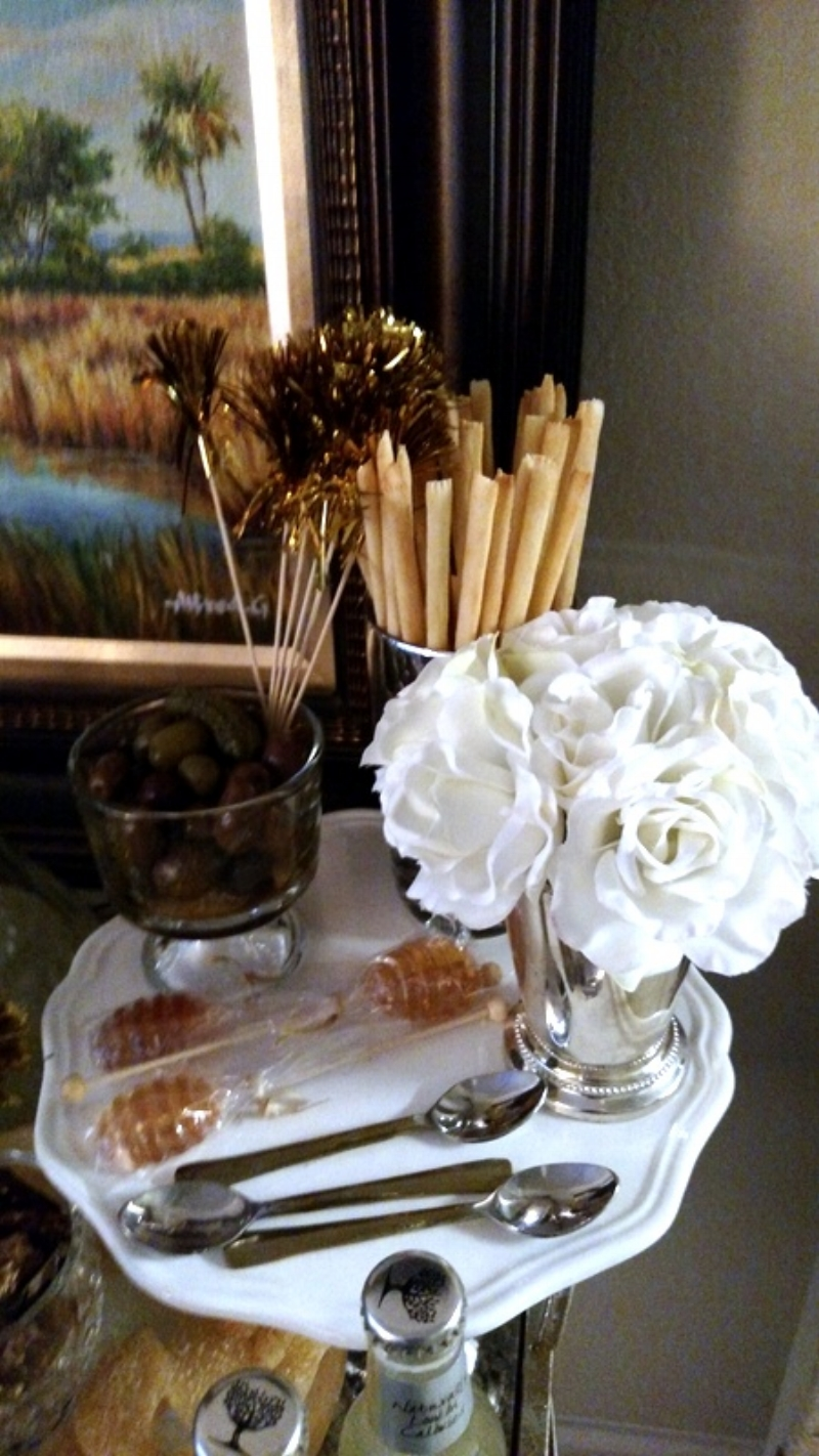 Bar Cart Munchies, Sparkly Cocktail Picks, Honey Stir Sticks and a Mint Julep cup with White Roses