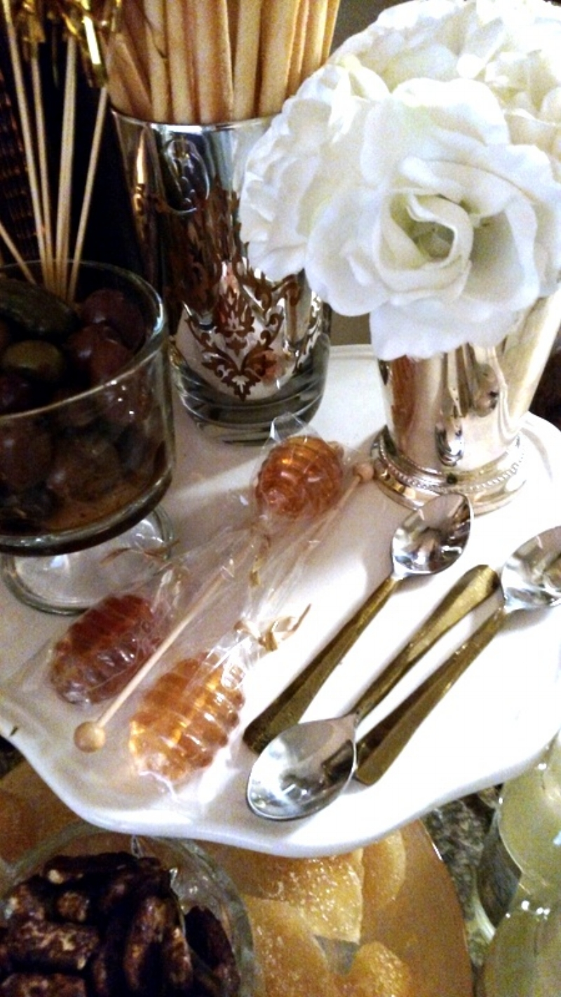 White Roses in a Mint Julep Cup, Gourmet Olives, Wine Dipper Bread Straws
