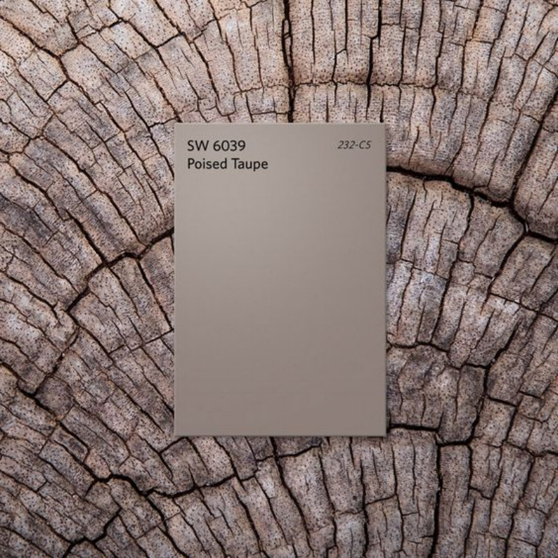 Sherwin Williams Poised Taupe SW 6039 232-CS via Sherwin Williams