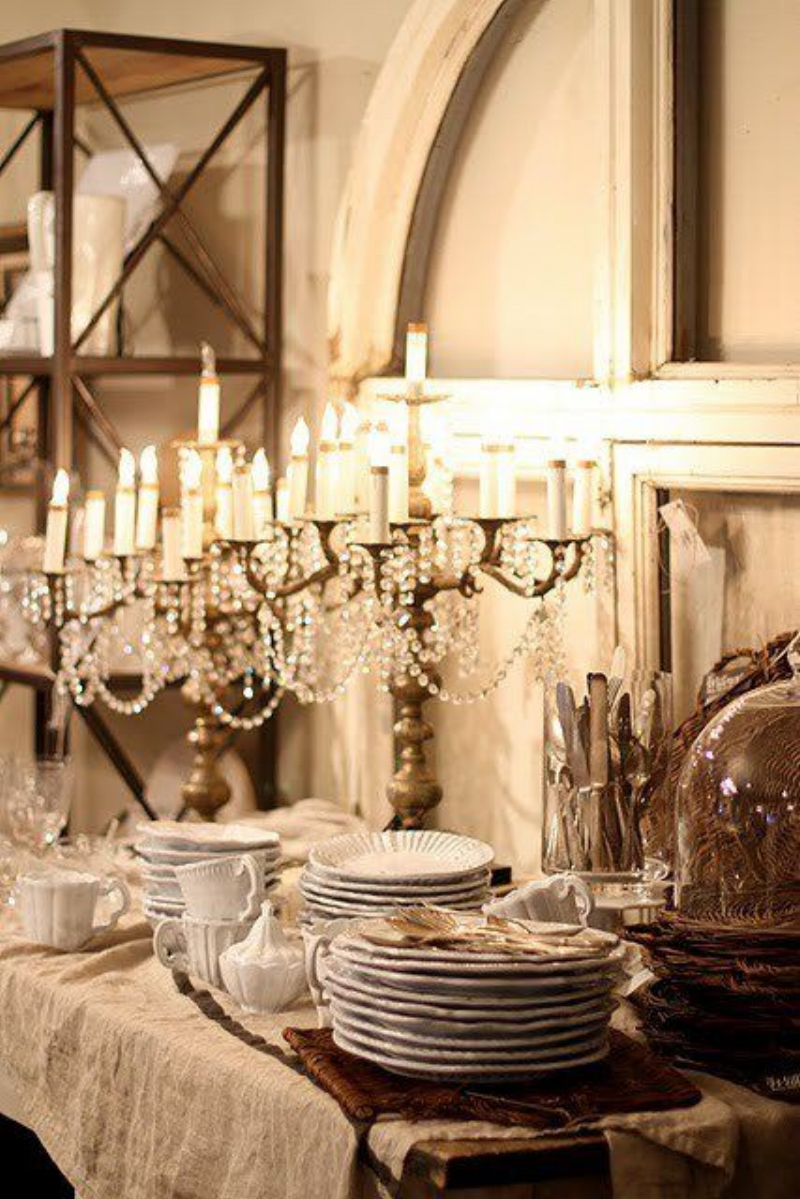 A Stunning Table with Touches of Taupe, Cream and Crystal via Tidbits & Twine