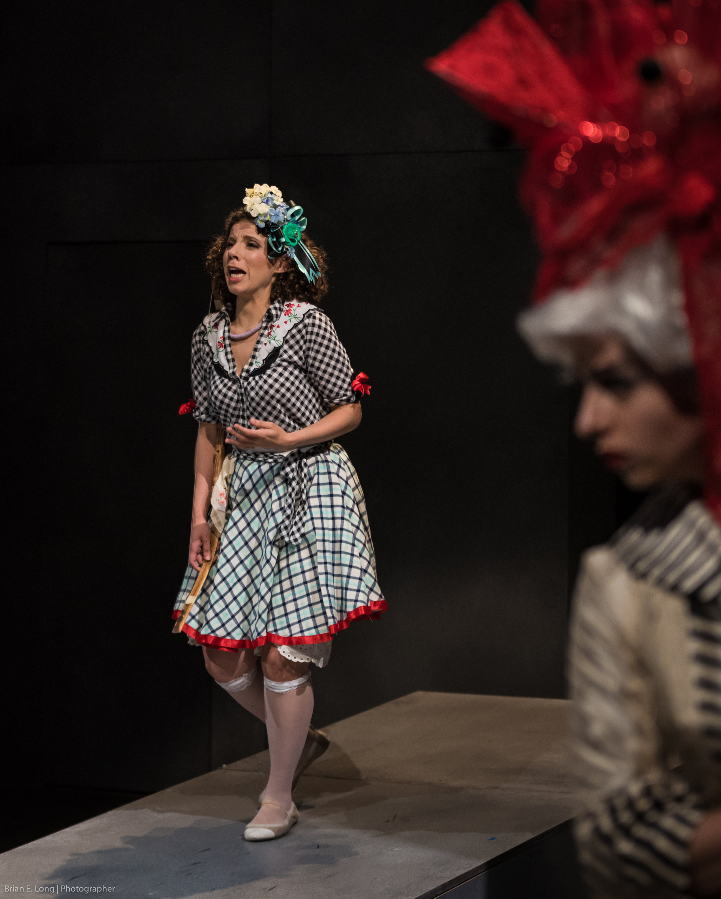 As Calisto in La Calisto with dell'Arte Opera Ensemble, 2017, LaMama Theatre.  Photography: Brian Long Stage Direction: Brittany Goodwin Music Direction: Charles Weaver Costumes: Claire Townsend Makeup and Hair Design: Georgi Eberhard Scenic Design: You-Shin Chen Lighting Design: Dante Olivia Smith  Also pictured: Sophie Delphis