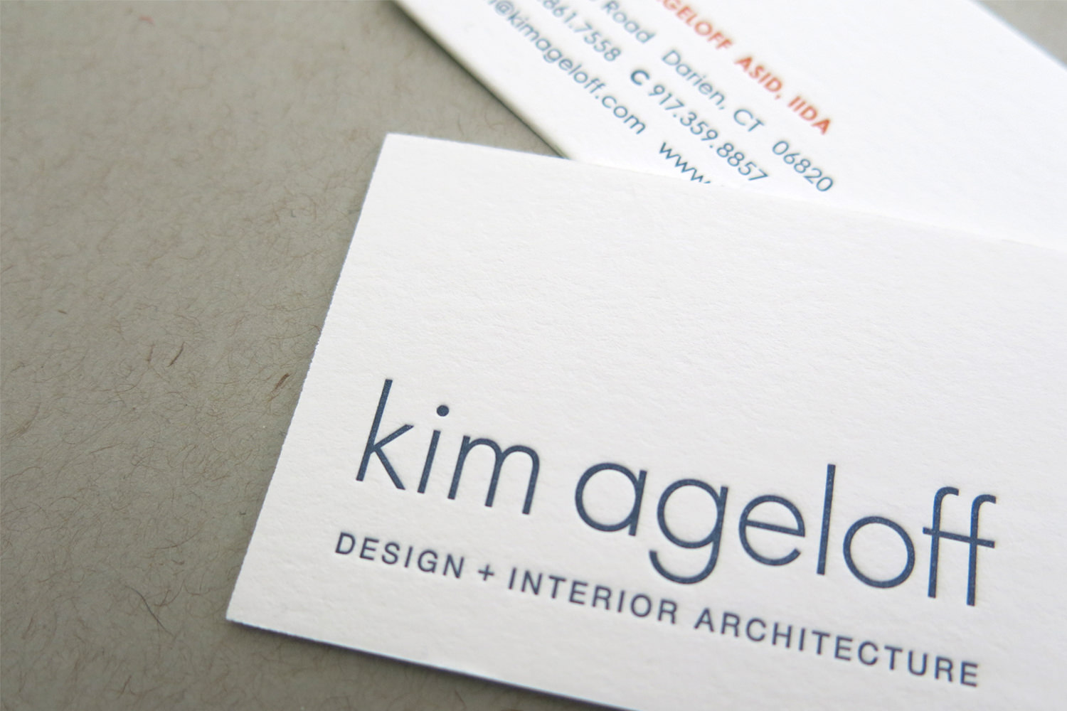 Kim Ageloff Design + Interior Architecture Two-Sided, Letterpress Business Card