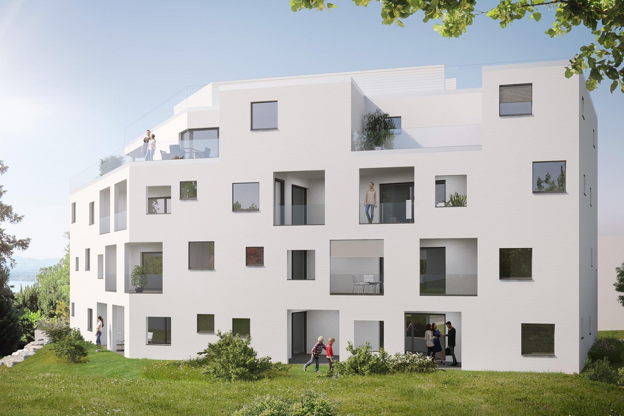 Aussenansicht Südseite überbauung VISIT Richterswil Neubauprojekt Boll Immobilien Verkauf Eigentumswohnungen