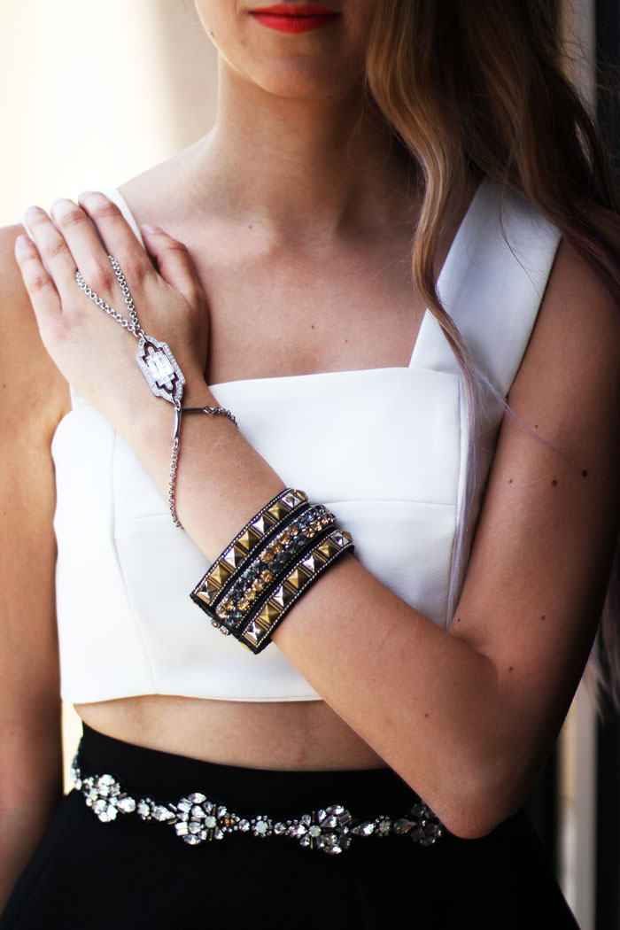 ring bracelet and studded cuffs