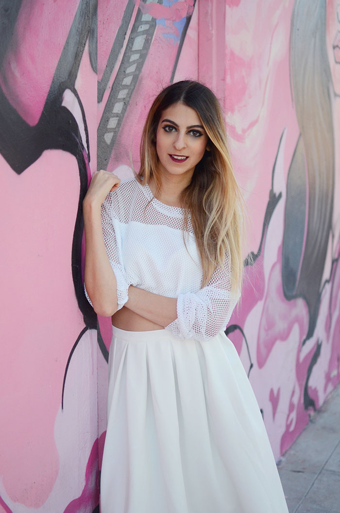 white crop top ensemble