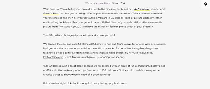 fashion blogger feature