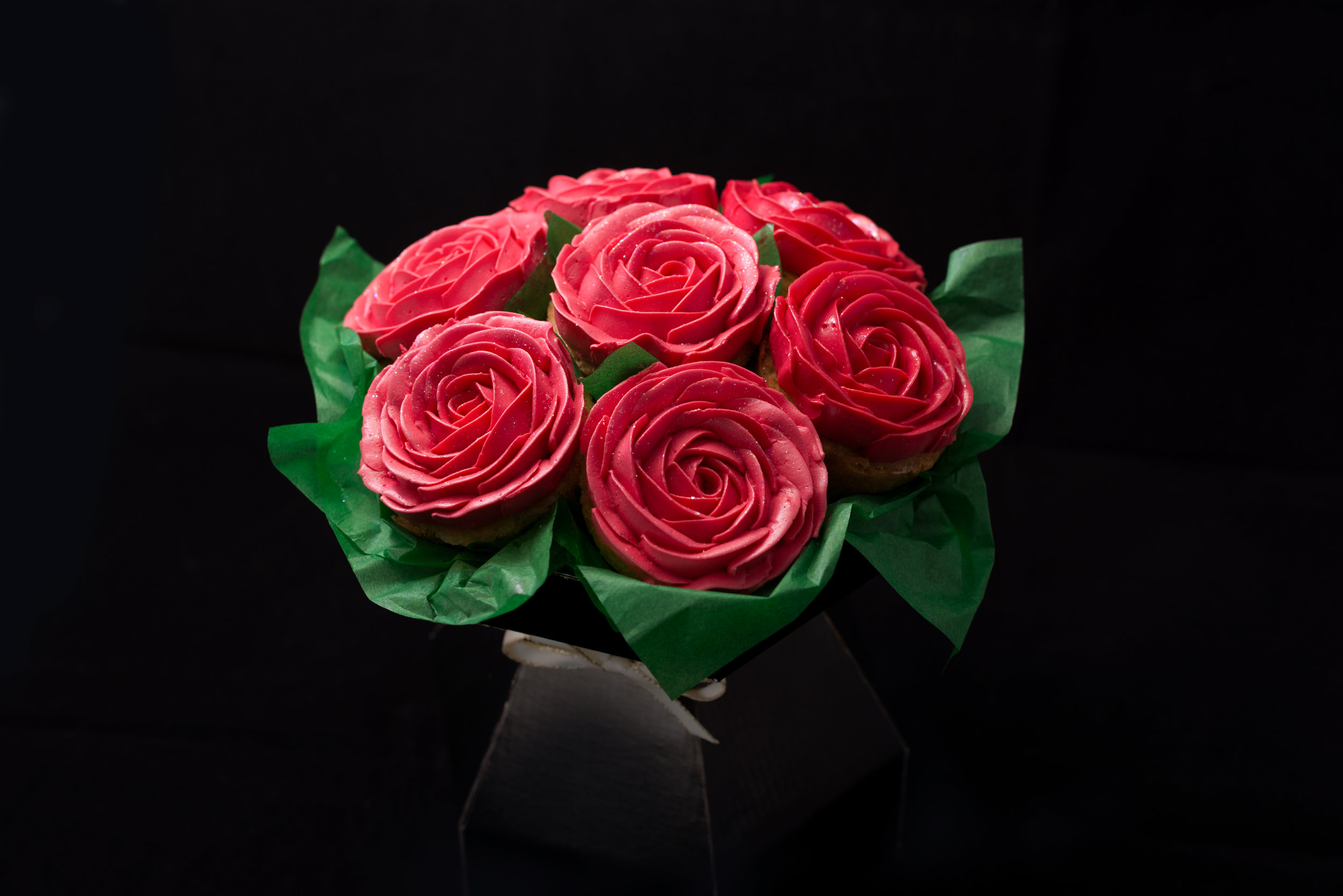 A Beautiful Bouquet of Red Rose Cupcakes