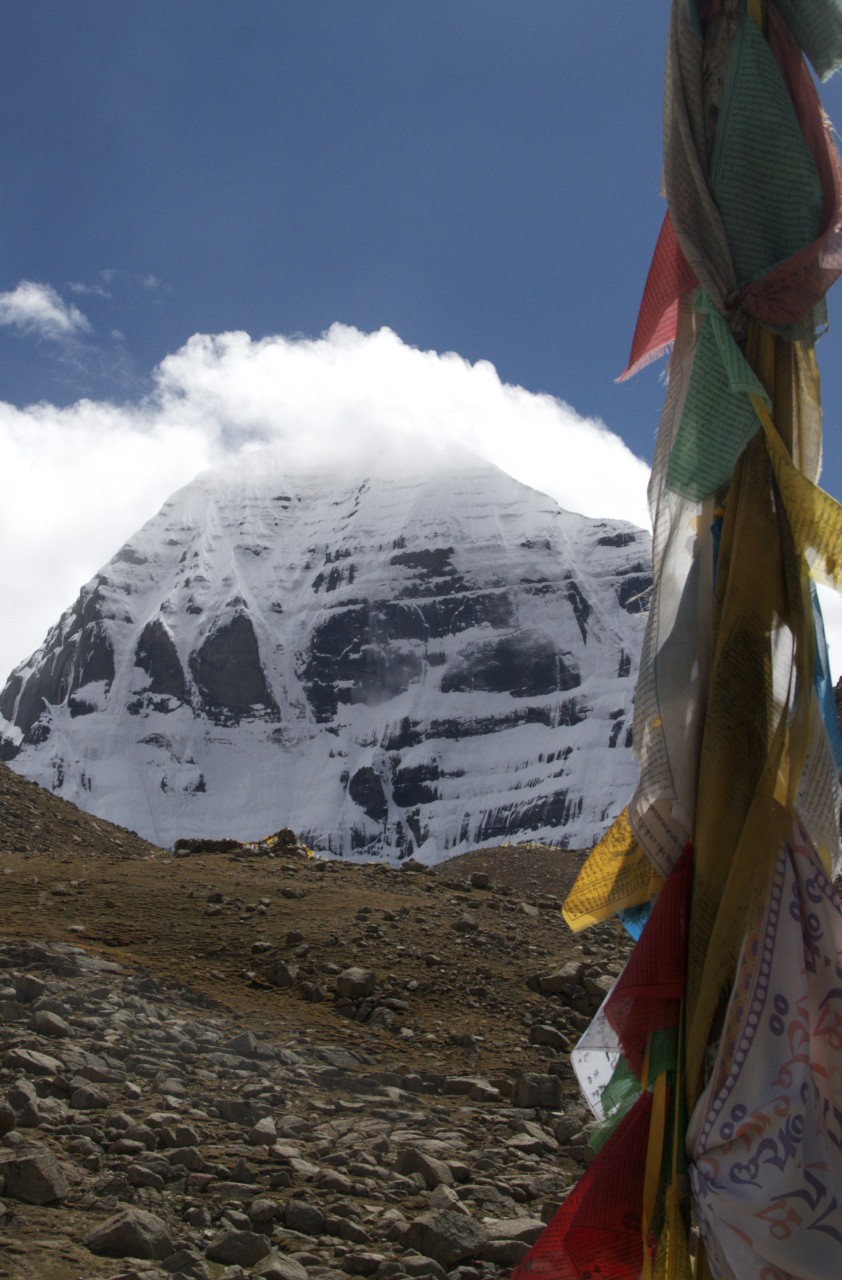 First view of Mt Kailash   As the dew is dried up by the morning suns are the sins of men dried up by the sight of the Himalayas, where Shiva lived and the Ganga falls from the foot of Vishnu like the slender thread a lotus flower.  There are no mountains like the Himalayas, for in them are Kailash and Manasarova   From the Skanda Purana