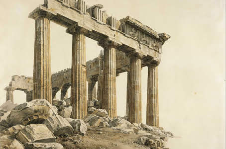 The South-east Corner of the Parthenon, Athens. Drawing by Giovanni Battista Lusieri, 1803