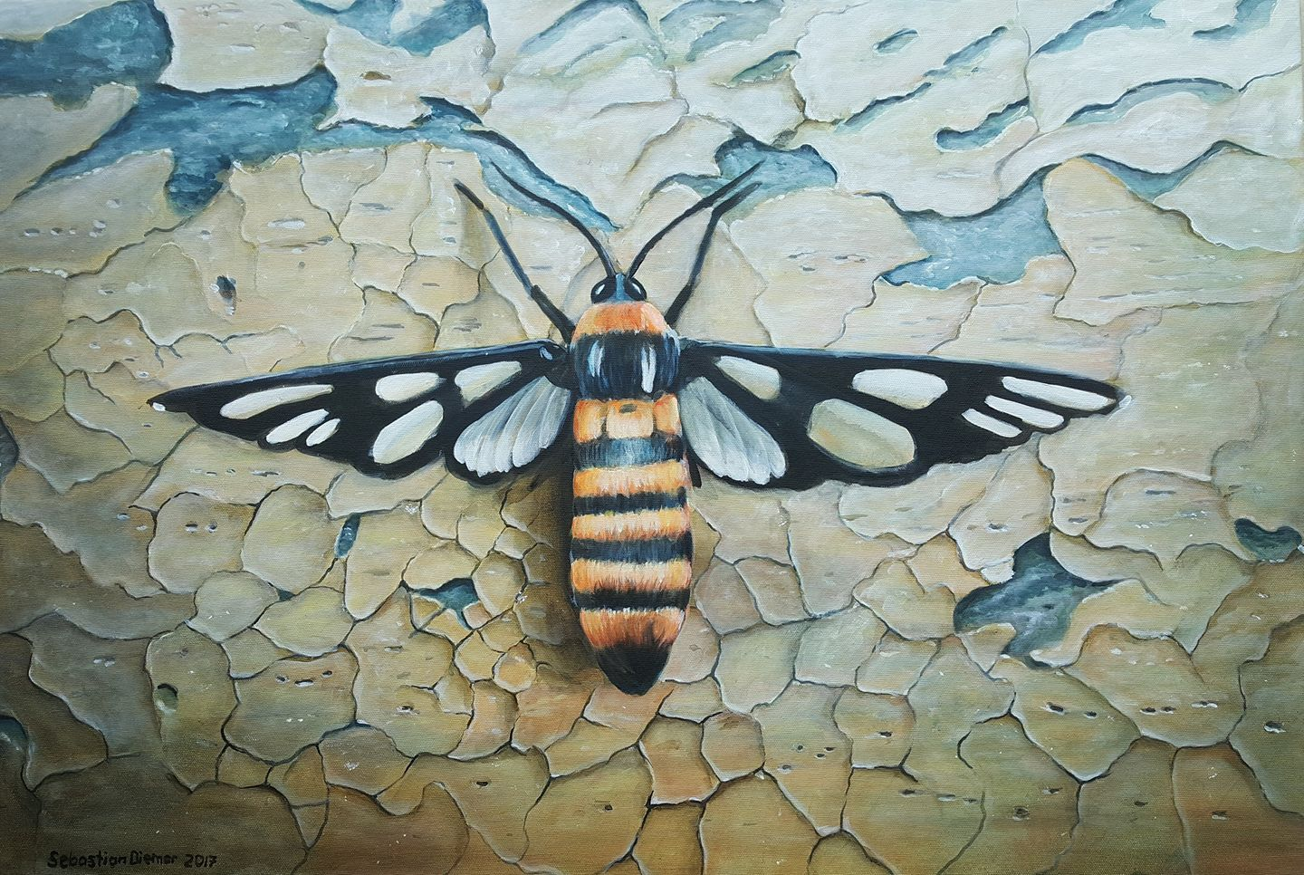 I found this beautiful insect just before my house. Beautiful, but its stitches are very painful.    Shanghai 2017  Acryl on Canvas   90 x 60 cm