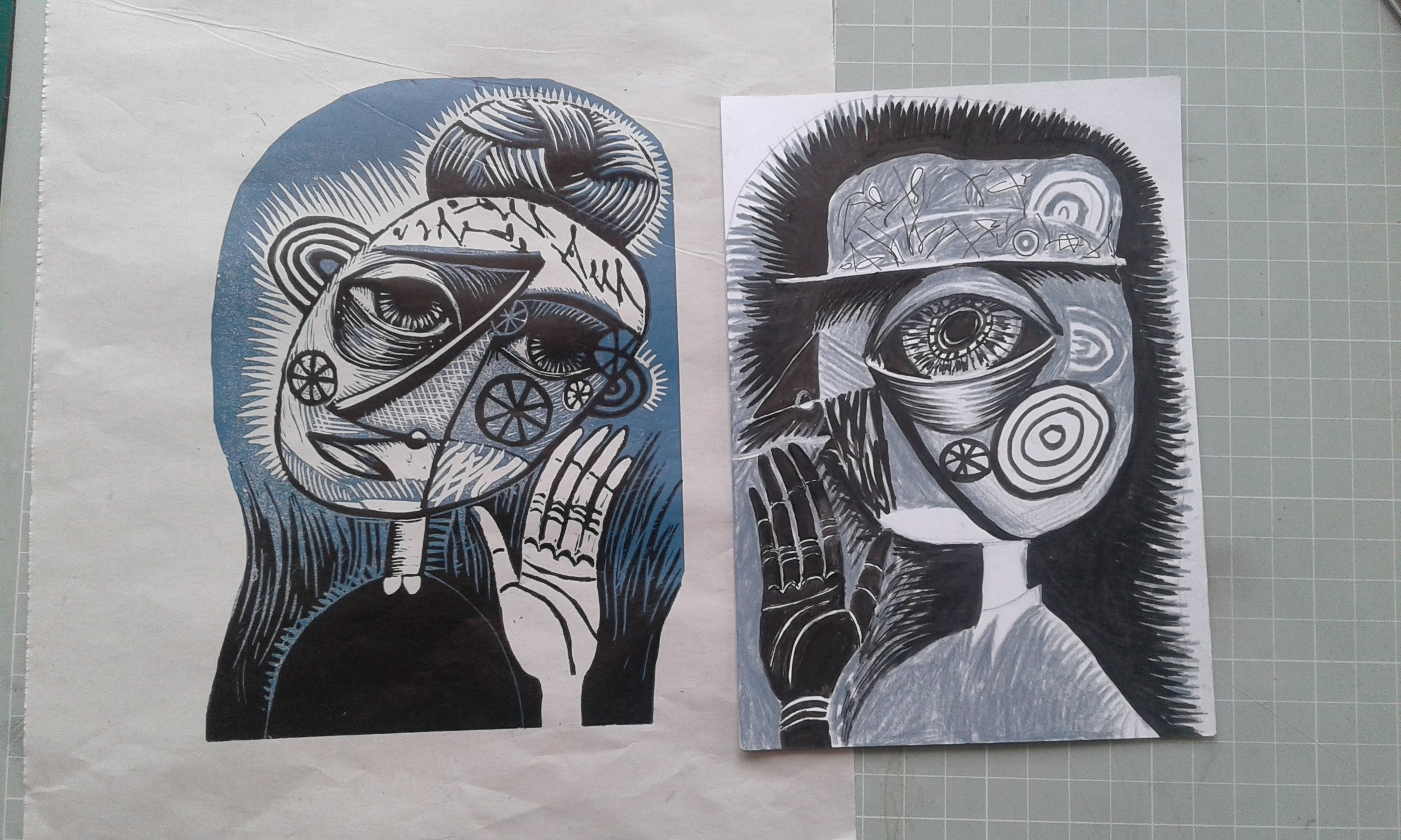 This is a proof next to a drawing by Mel Day. She intends to make a diptych