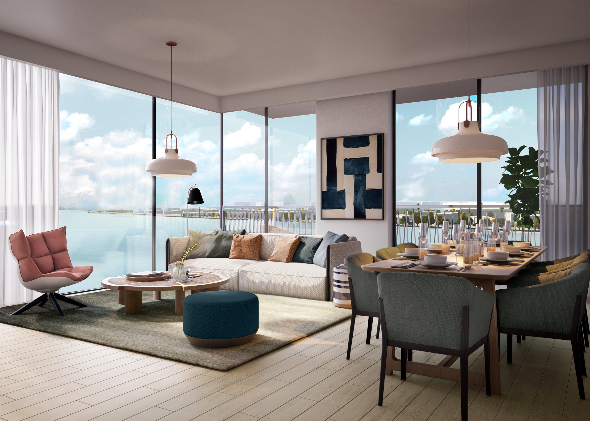 Blue Scheme: Two Bedroom Apartment Living and Dining