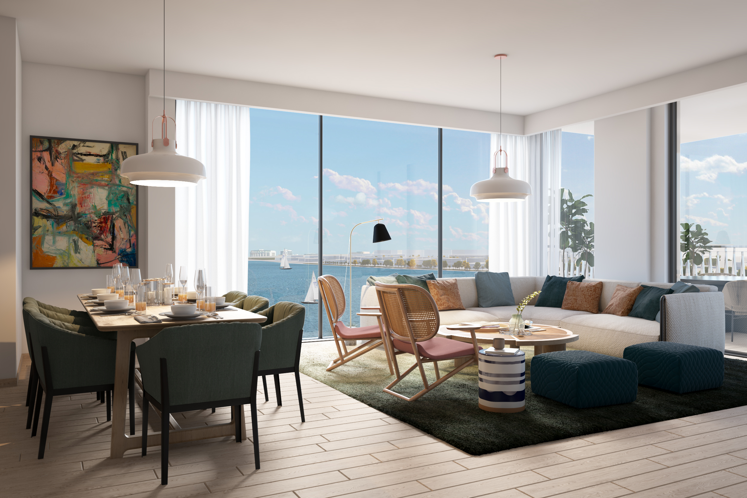 Green Scheme: Four Bedroom Apartment Living and Dining