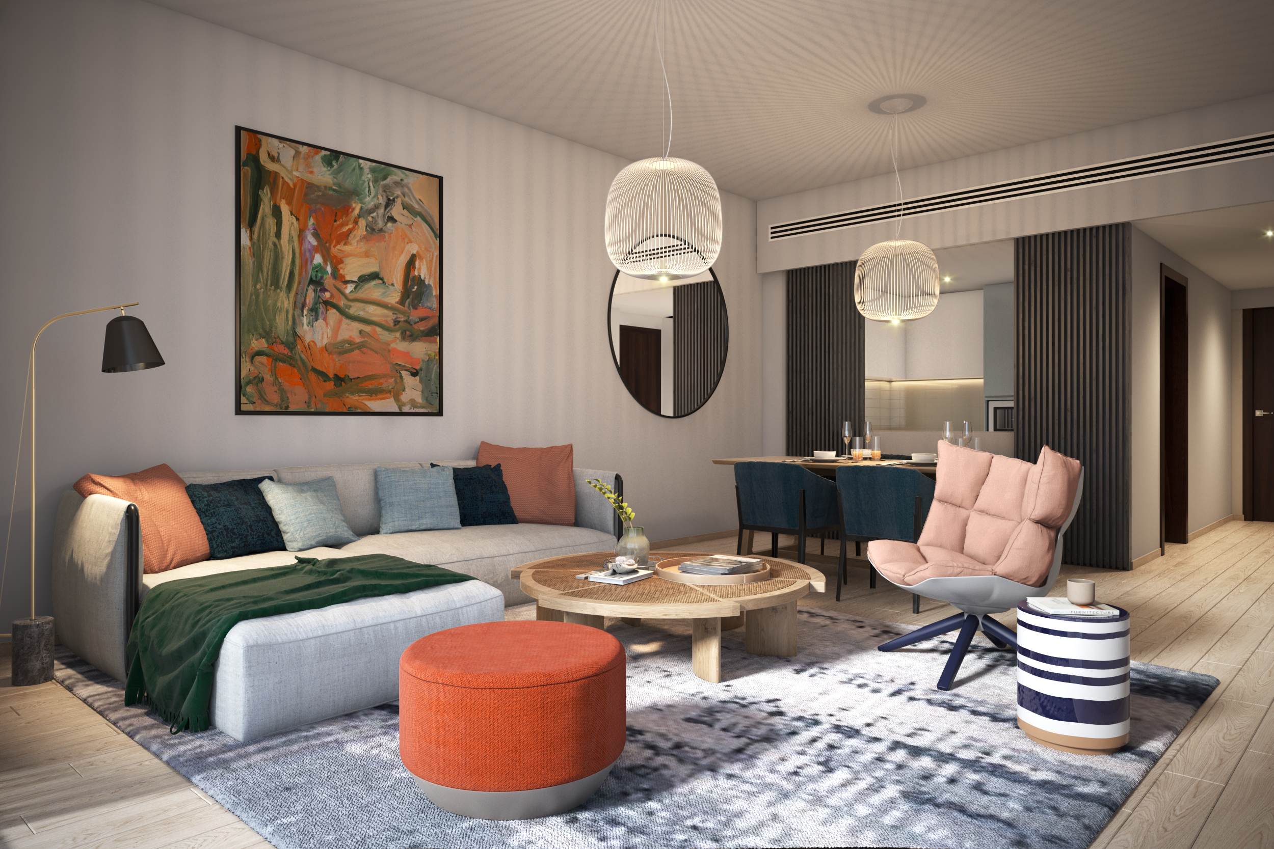 Blue Scheme: One Bedroom Apartment Living and Dining