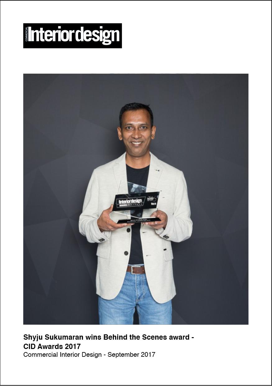 Sep 2017 - Commercial Interior Design   Shyju Sukumaran Wins Behind the Scenes Award - CID Awards 2017