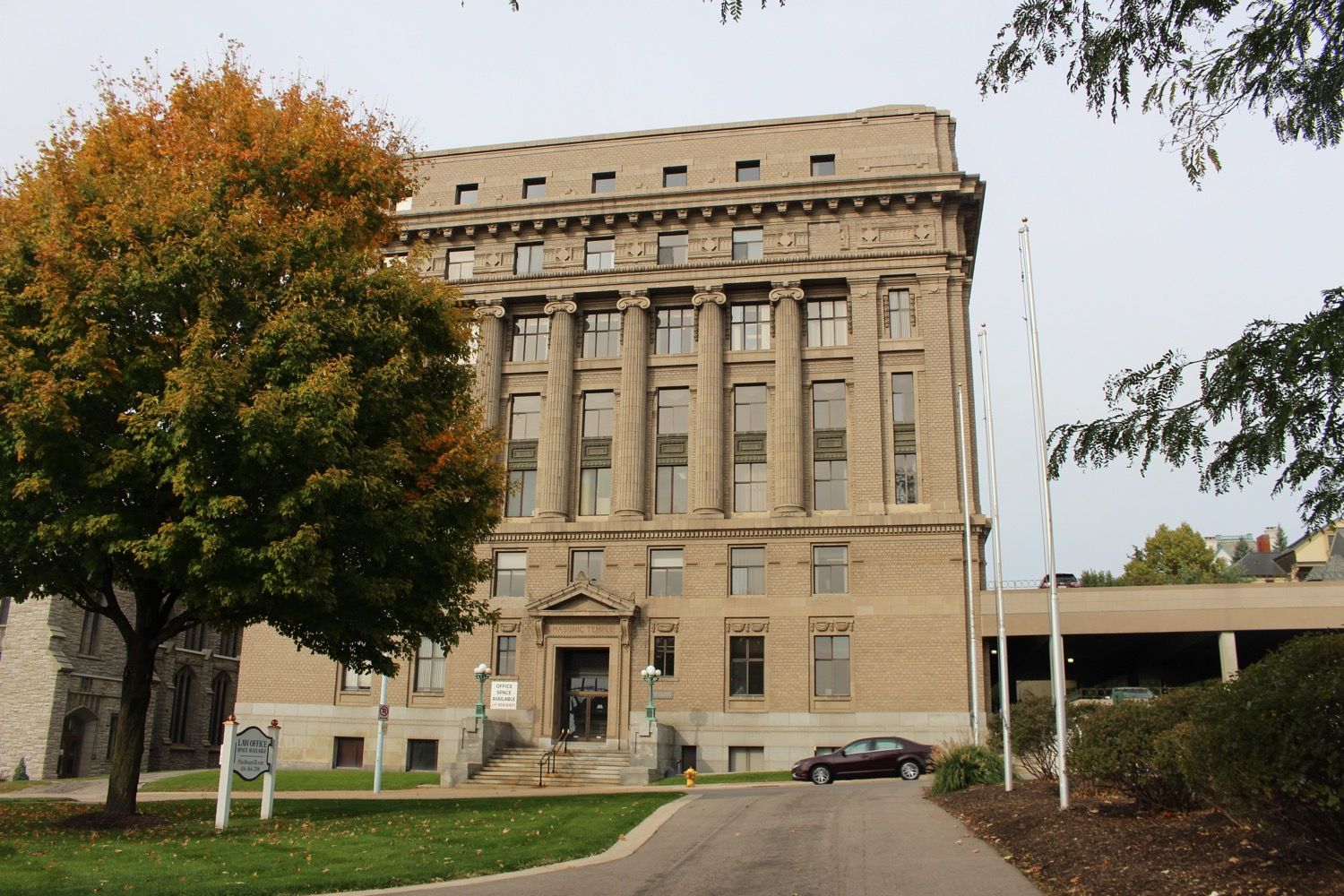 Masonic Temple on East Fulton Street overlooking downtown Grand Rapids