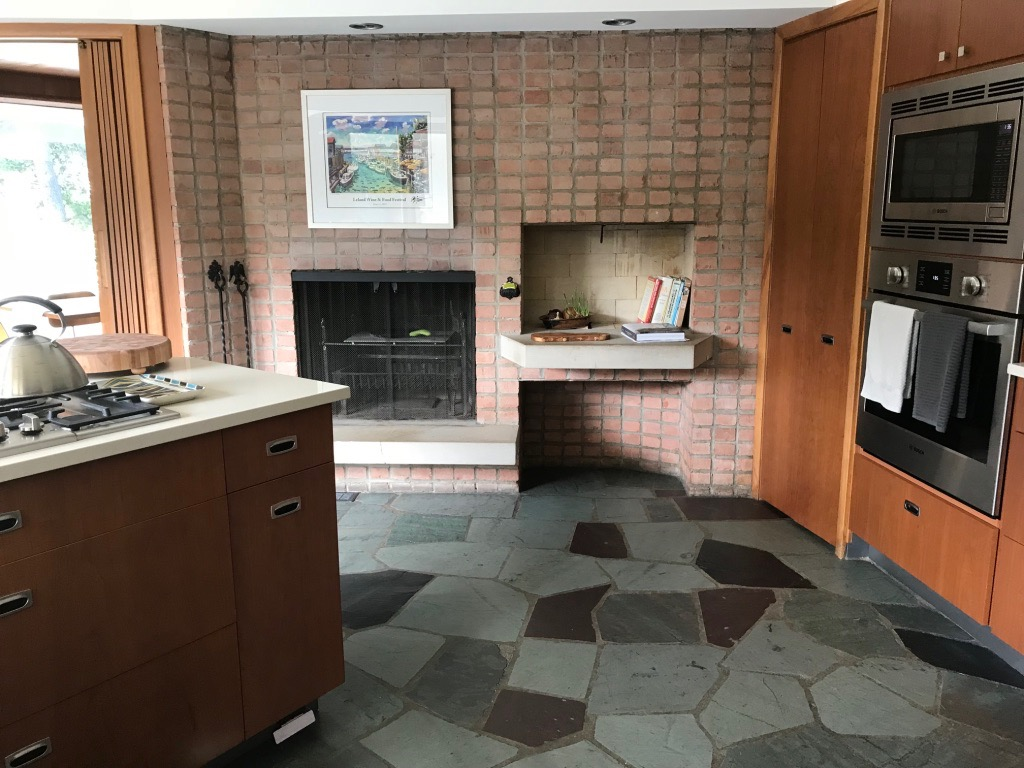 KITCHEN FIREPLACE AND SLATE FLOOR