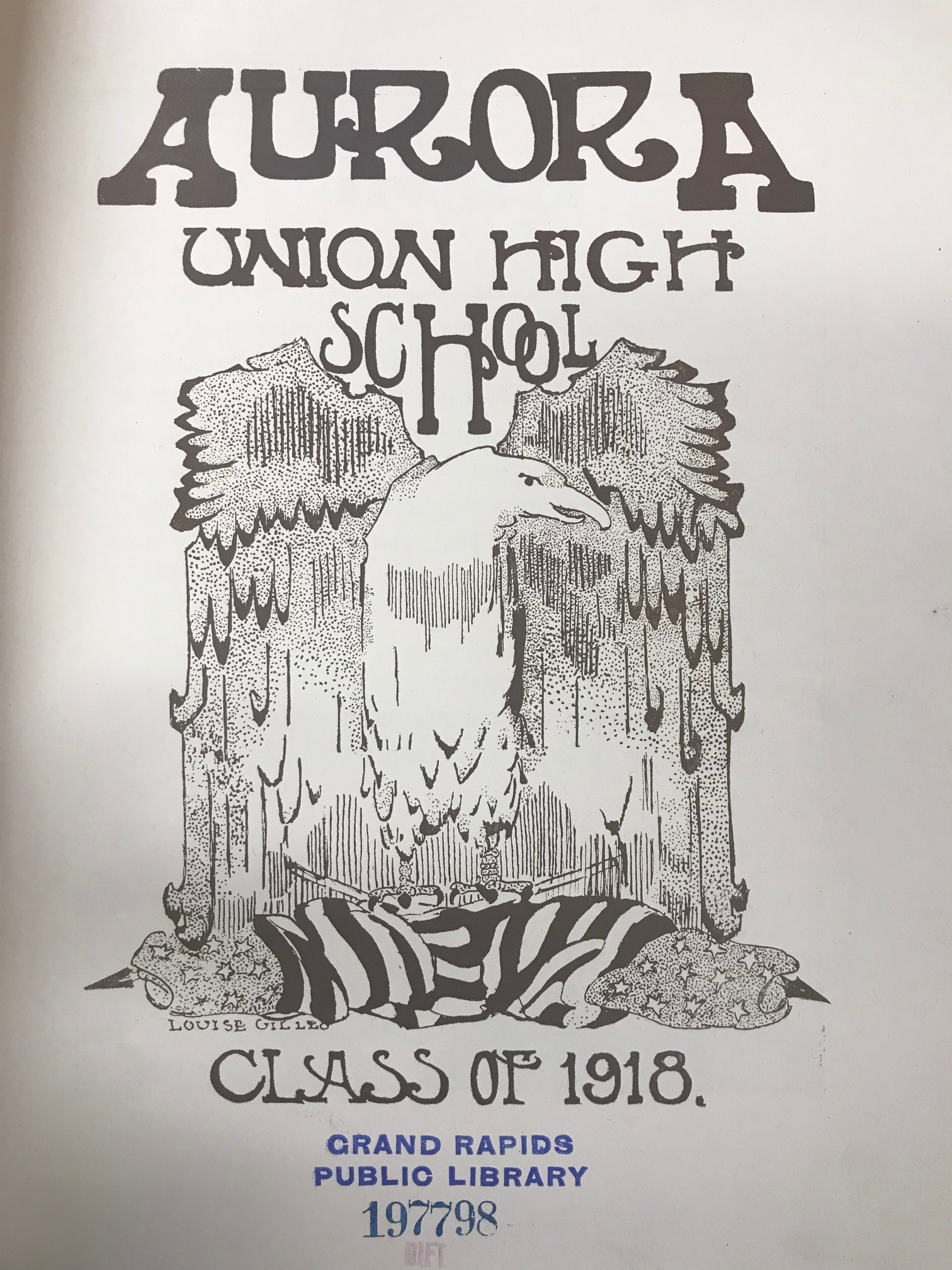 1918 Union High School Yearbook Illustration by Louise Gilleo. Courtesy History and Special Collections Department, Grand Rapids Public Library. Photograph by Pam VanderPloeg.