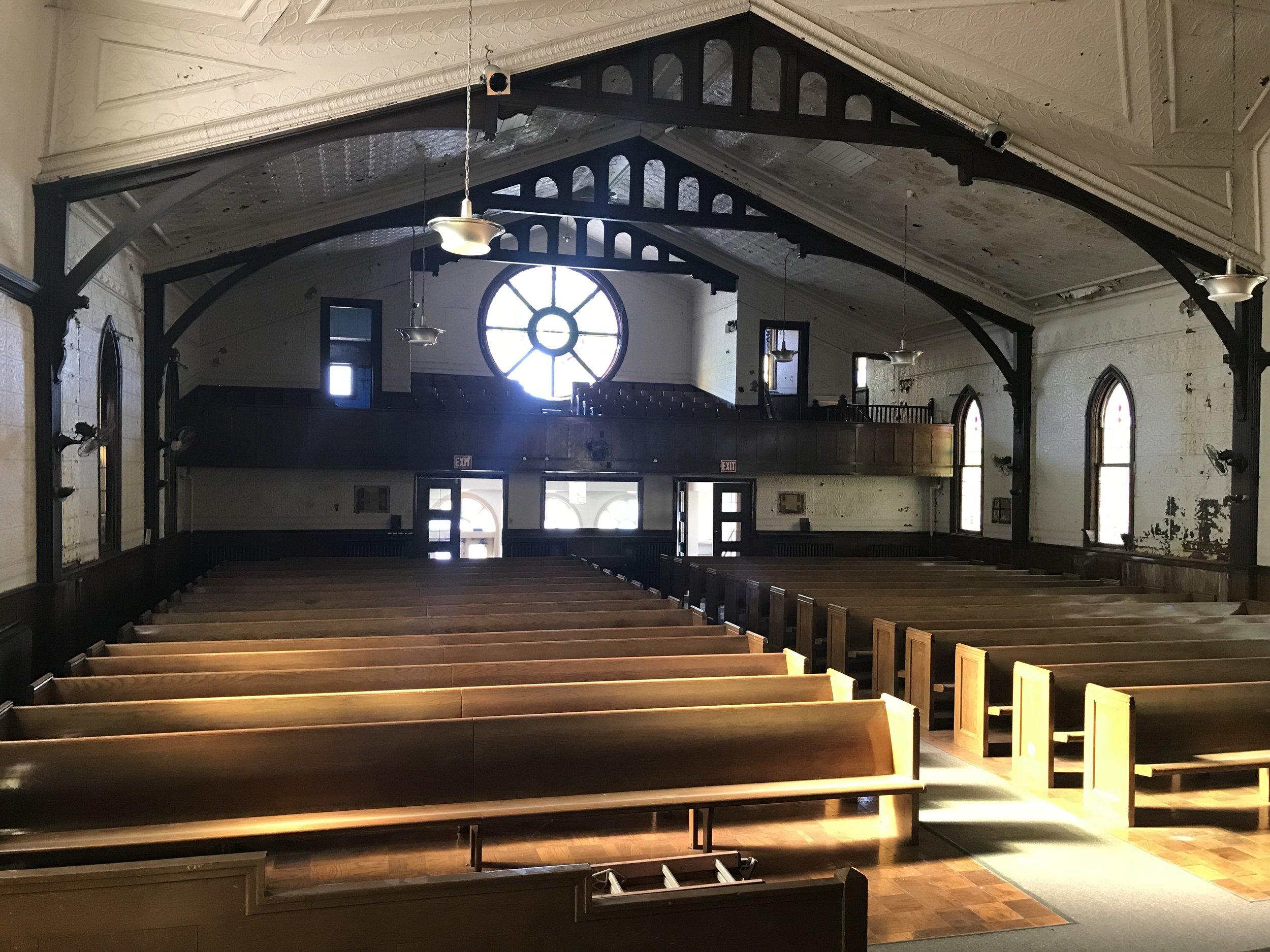 CHURCH - LOOKING BACK TOWARD BALCONY AND ROSETTE WINDOW.jpg