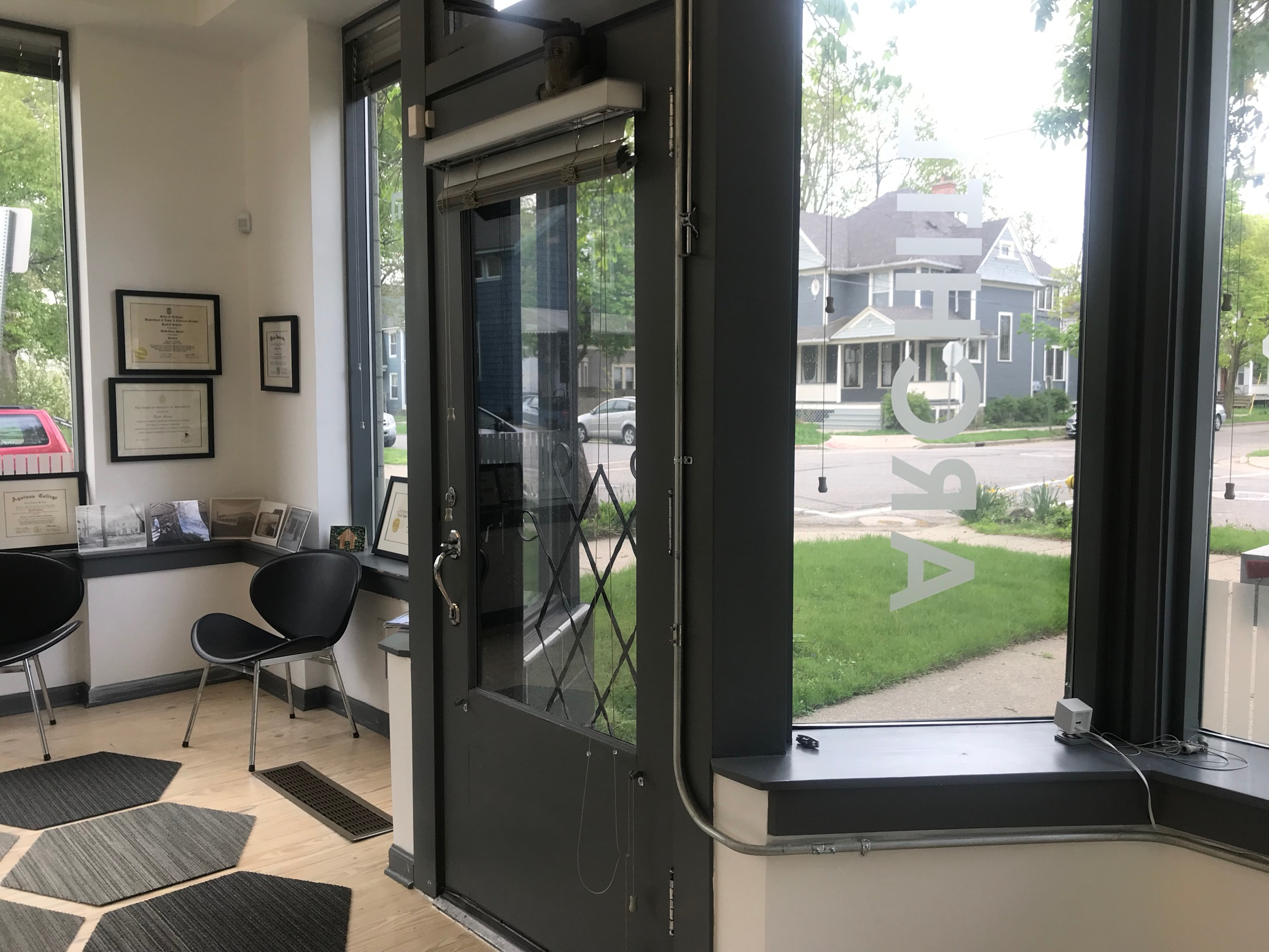 Entry and exterior trim painted contrasting black