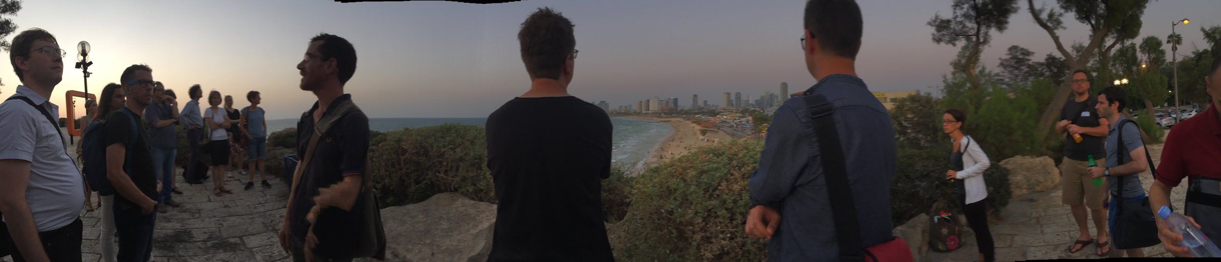 View from Jaffa over Tel Aviv with a bunch of conference particpants.