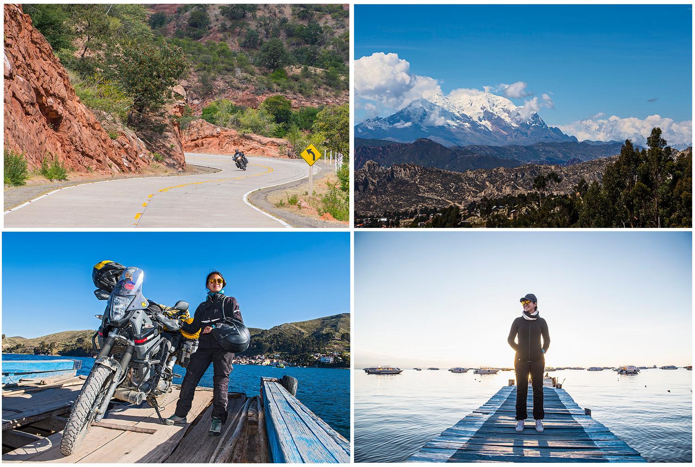 Pascal enjoying the turns and Siri the warm sun at the Titicaca lake