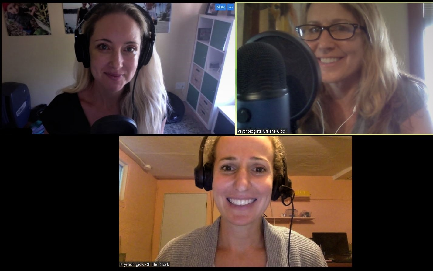 Here we are, recording our big 100th episode! (Clockwise from upper left: Diana, Debbie, and Yael)  __________________________  Thank you for joining us on this episode of  Psychologists Off The Clock . We appreciate your feedback. Please take a moment to leave a quick rating and review of the show on  Apple Podcasts . It helps us spread the word to more folks like you!   Click Here to Subscribe via Apple Podcasts    Click Here to Subscribe via Stitcher    Click here to Subscribe via Google Play