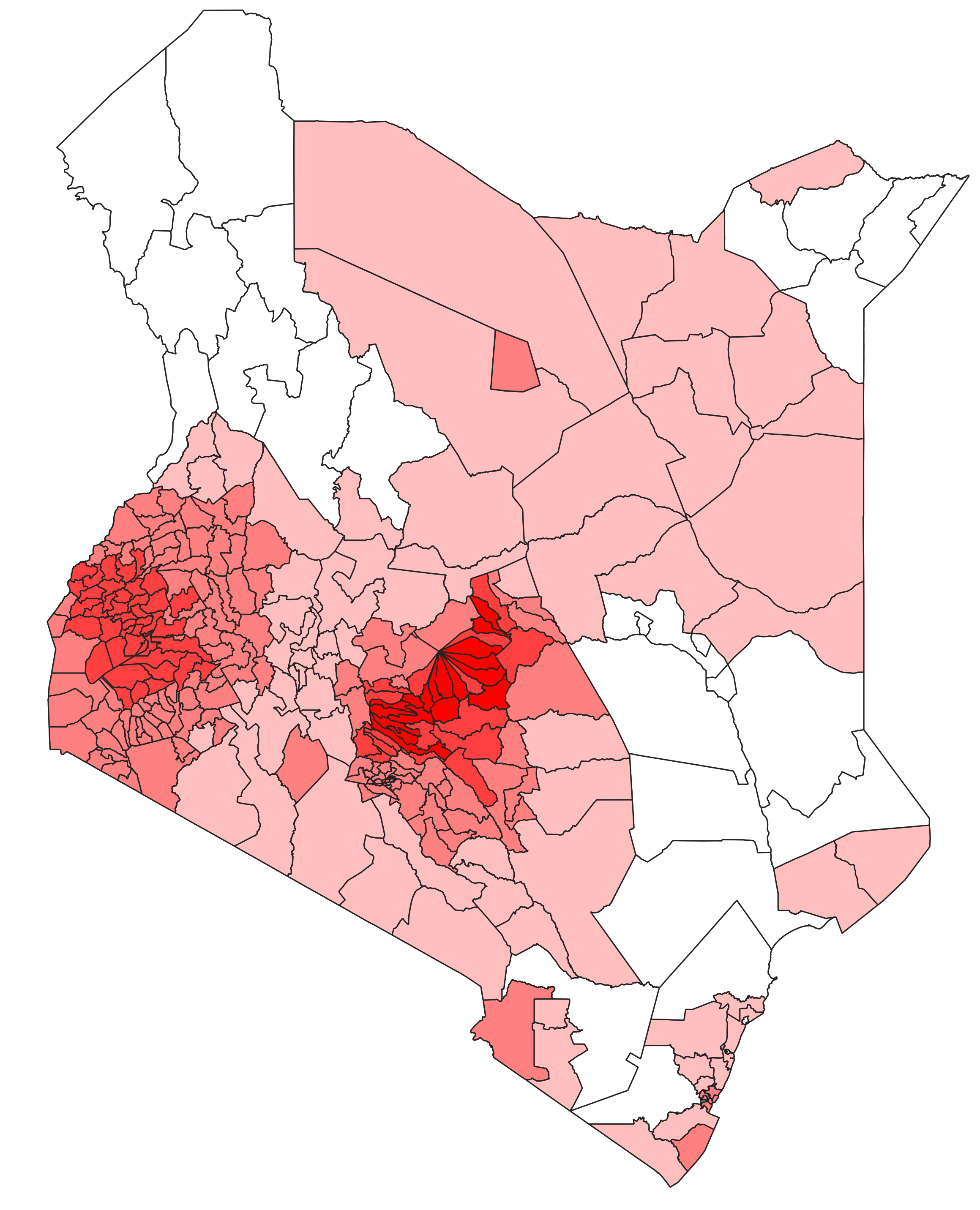 20-year mean precipitation levels in April, mapped at the constituency level