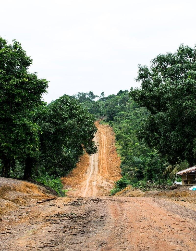 An unflooded road to Wiah clan during the rainy season (2016)